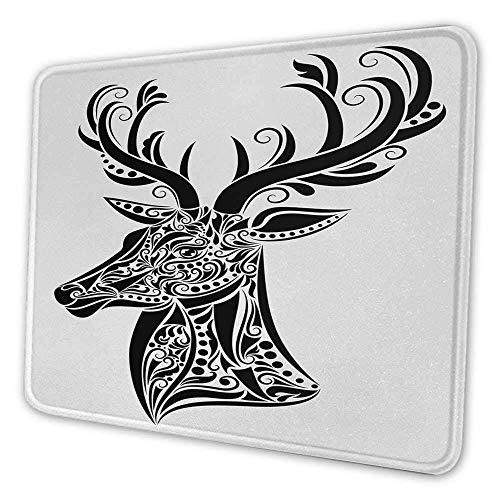 Geweih Ergonomisches Mauspad-Tattoo-Muster in Form eines Hirsches Kreatives Porträt in Schwarz-Weiß-Farben Mauspad mit rutschfester Basis Schwarz-Weiß 12x28x0,08 Zoll