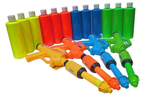 Birthday Party - Paint Party Paint Squirt Guns (4 Guns & 12 neon Glow Paint Party 16oz Bottles) ASST #BOYG