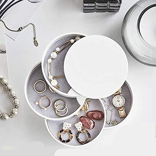 Preisvergleich Produktbild WXX Schmuckkästchen 360° aus Drehbare Schmuckaufbewahrung Runde Form Schmucklade Damen für Ringe Halter für Halskette Armband Ohrring Geburtstag Frauen Geschenk, Weiß