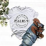 Toll2452 Chemises chrétiennes Faith Chemises religieuses T-shirt Hymn Verse Bible Chemises Christ Jésus Tee Tee Psaumes 91