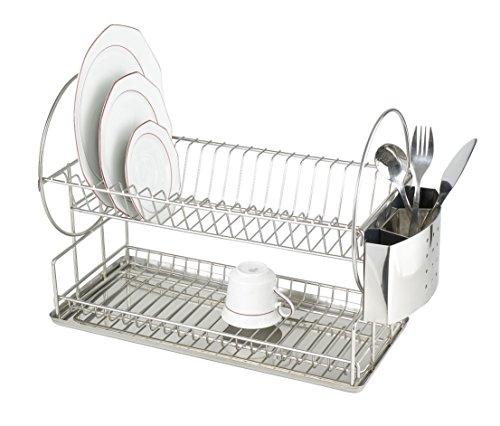 Wenko Exclusiv duo afdruiprek voor borden en kopjes, bestekmand, opvangschaal, roestvrij staal, 21 x 33 x 49 cm, mat zilver