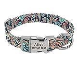 PAIZEP Collar de Mascota Impreso Personalizado Collar de Perro de Nylon Collar de Nombre de identificación de Cachorro Grabado Gratis Personalizado, Verde 6, L