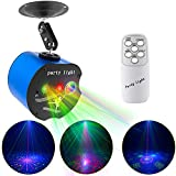 Disco Lights,3 Lens Party Laser Lights Dj Stage Strobe Lights Projector Effect Sound Activated with Remote Control for Xmas Bar Parties Karaoke KTV Christmas Halloween