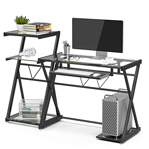 Mecor Glass Computer Desk with Multi-Tiers Shelf/Keyboard Tray Laptop Table Metal X-Frame Corner Workstation for Home Office(Clear