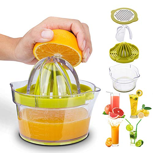 Manual Juicer,Vsweet Citrus Lemon Orange Hand Squeezer with Built-in Measuring Cup and Grater Anti-Slip Reamer Extraction Egg Separator,12-Ounce Capacity, Green