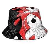 Cappello a secchiello unisex Koi Fish Yin Yang Pescatore Cappelli estivi Outdoor Packable Cap Travel Beach Sun Hat