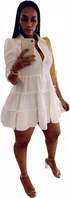 OLUOLIN Sexy Mini Shirt Dress for Women - Casual Button Down Blouse V Neck Ruffles Loose Swing Short Dresses