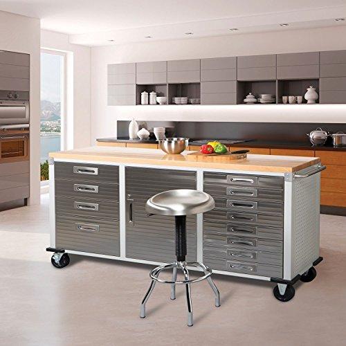 Seville Classics UHD20242 Werkstattwagen mit 12 Schubladen, 182,9 x 50,8 x 95,2 cm, Metall pulverbeschichtet, Buche Holzarbeitsplatte, grau - 2