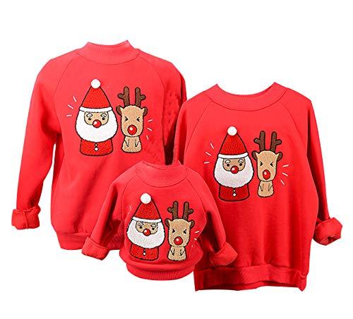 Sudaderas Navideñas Familiares Sudadera Navidad Hombre Mujer Niña Niño Jersey Suéter Navideño Sudadera Navideña Familia Reno Jerseys Navideños Parejas Cuello Redondo Ancha Larga Invierno Rojo M