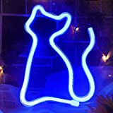 Passion Cat LED Signs Neon Lights Wall Decor,Led Lights for Room,Wall Decoration Table LED Neon Light Sign,Decorative for Bar,Christmas,Home Party, Wedding Birthday Kids or Girls Room(Cat-Blue)