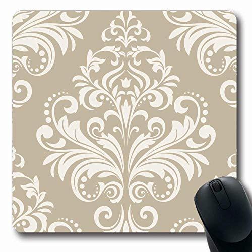 Mousepad Beige Blume Vintage Blumenmuster Barock Damast Abstrakt Silber Western Antike Vorhänge Kurven Mousepad Oblong 25X30Cm Rutschfeste Gummispiele Mausmatte Langlebiger Laptop