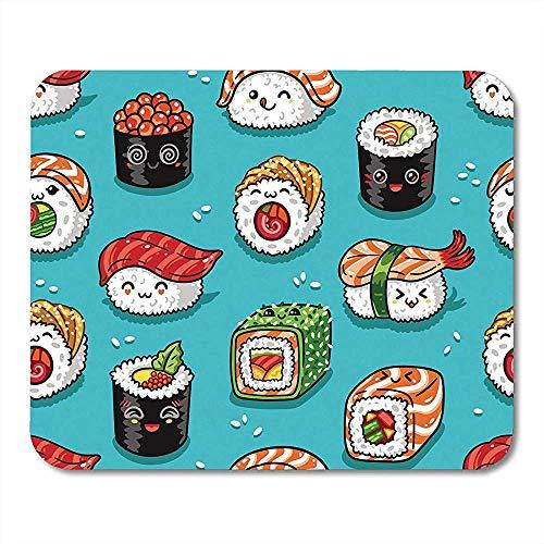 Muis Pads Blauwe Manga Leuke Cartoon Rollen en Sushi in Kawaii Lekkere Japanse Voedsel Plezier Japan MousepadMouse Matten