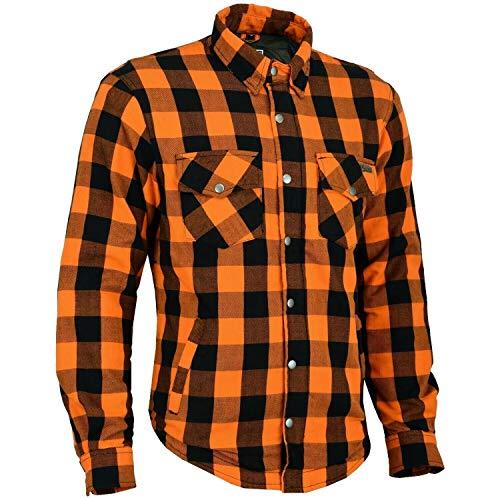 BOSmoto Motorrad Flanell Holzfäller Hemd mit KEV ARAMID, Lumber Biker Jacke Hemd (Orange, x_l)