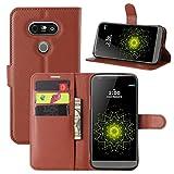 HualuBro LG G5 Hülle, Premium PU Leder Stoßfest Klapphülle Schutzhülle HandyHülle Handytasche Wallet Flip Hülle Cover für LG G5 Tasche (Braun)