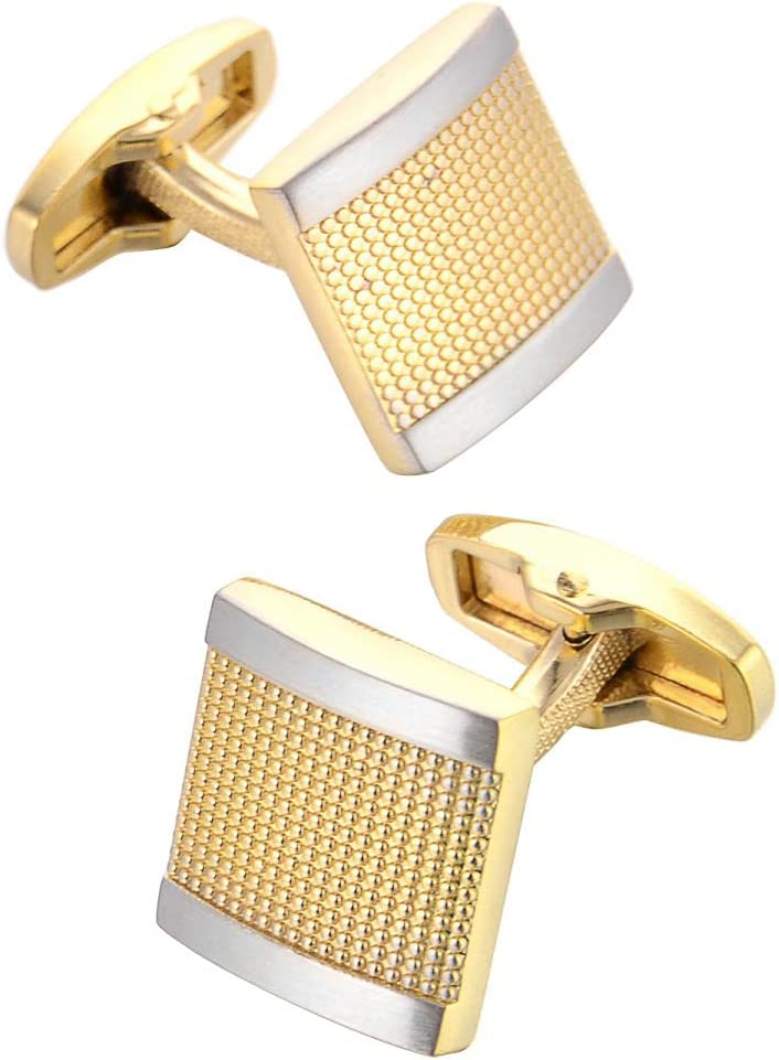 BO LAI DE Mens Cufflinks Gold Square Carved Metal Cuff Links Shirt Cufflinks Suitable for Wedding Business Luxury Tuxedo Formal Shirts, with Gift Box