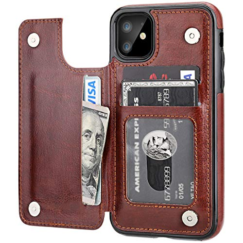 iPhone 11 Wallet Case with Card Holder,OT ONETOP PU Leather Kickstand Card Slots Case,Double Magnetic Clasp and Durable Shockproof Cover for iPhone 11 6.1 Inch (Brown)