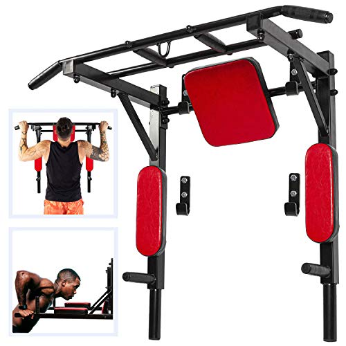 Wall Mounted Pull Up Bar and Dip Station Multi-Grip Chin-Up Bar Dip Stands Compact Power Tower for Indoor Home Gym Workout Multifunctional Fitness Training Equipment 550 Lbs (Black & Red)