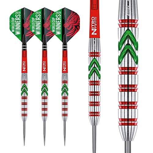 RED DRAGON Gerwyn Price Special Edition - 23 Gram Tungsten Steel Tip Darts Set with World Cup Flights and Nitrotech Shafts (Stems)
