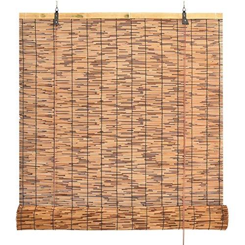 HJRD Bamboo Blinds Natural, Reed Curtain Roller Blind,Living Room Decoration Partition Vintage Straw Curtain, Waterproof and Dustproof,for Outdoor Indoor(90x120cm/36x47in1pc)