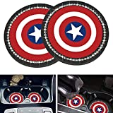 2 Pcs for Captain America Car Cup Holder Insert Coaster Interior Accessories,2.75 Inch Silicone Anti Slip Bling Crystal Rhinestone Car Coaster for Captain America All Models (Bling American Team)
