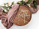 LS Designs Happy Birthday Cake Topper Gold Acrylic Large Cake Topper 7 3/4 inches x 6 1/2 inches Full Gold Acrylic Birthday Cake Birthday Cupcake Party Decoration Versatile Cake Topper