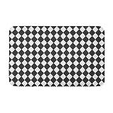 AoLismini Alfombra de baño n Blanco y Negro Rombo Arlequín Azteca geométrico Abstracto Acogedor decoración de baño Alfombra de baño con Respaldo Antideslizante