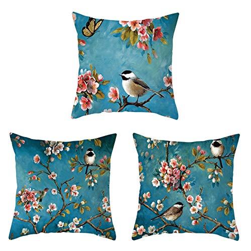 AmDxD Fundas de almohada de poliéster, 40,6 x 40,6 cm, cuadradas, diseño de flores de ciruelo, pájaro, mariposa, paquete de 3, color azul oscuro