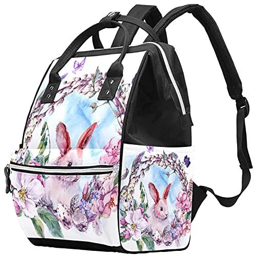Yuelai Borsa per pannolini Zaino Zaino per laptop Zaino da viaggio per donna, Acquerello Primavera Buona Pasqua Ghirlanda