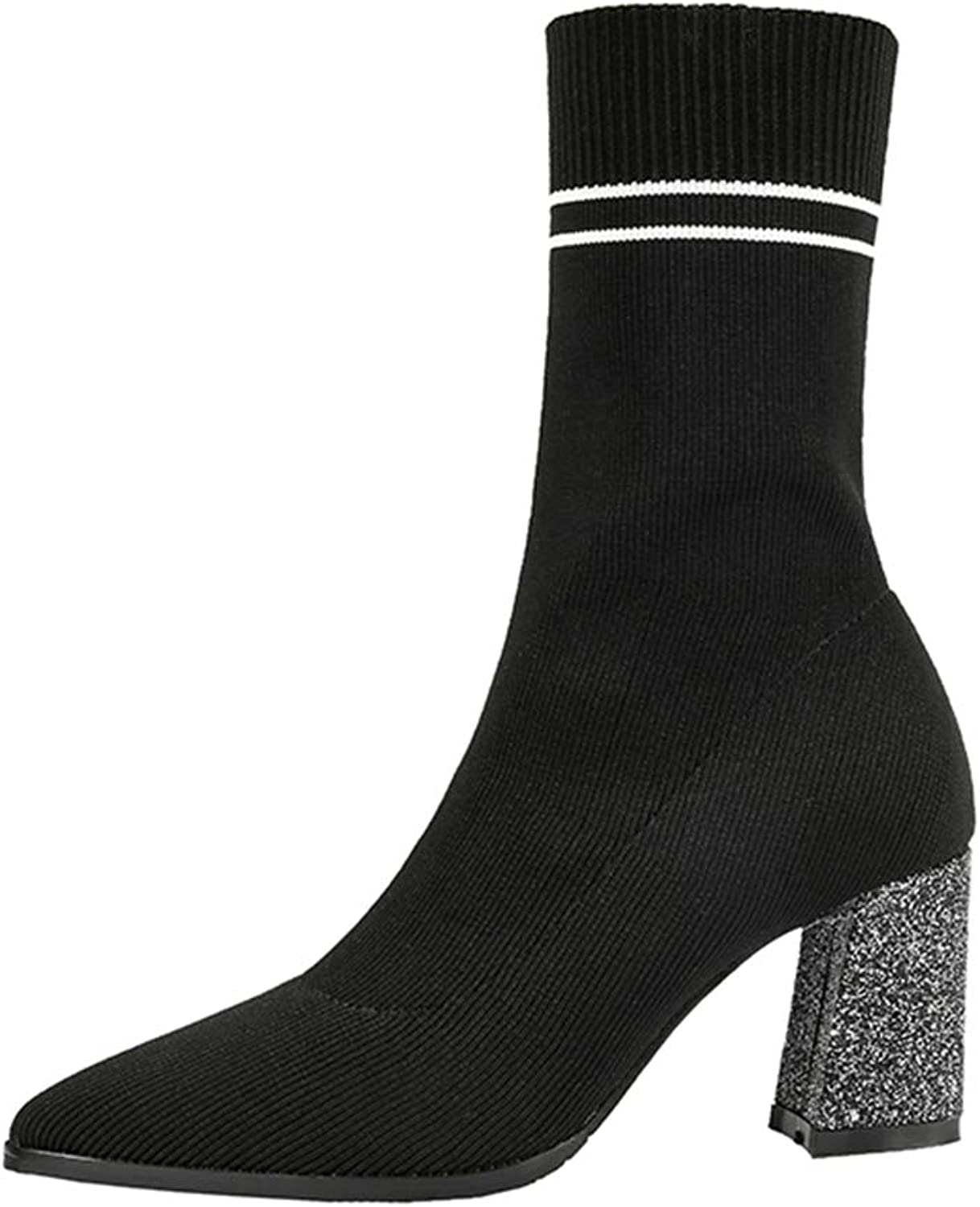 CYBLING Women's Stripe Pointed Toe Mid Calf Boots Stretch Lycra Glitter Chunky Heel Sock Boots