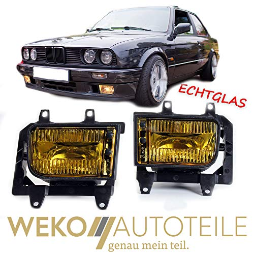 Nebelscheinwerfer Set Echtglas gelb H3 passend für 3er E30 Facelift 1987-1994