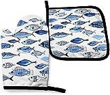 asdew987 Guantes de cocina para horno de acuario con diseño de peces azules, color dorado y blanco, con trabillas para colgar, resistentes al calor, antideslizantes, seguros y lavables