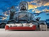 Oedim - Fotomural Vinilo para Pared Estatua Buda Puesta Sol | Fotomural para Paredes | Mural | Fotomural Vinilo Decorativo | 200 x 150 cm | Decoración comedores, Salones, Habitaciones