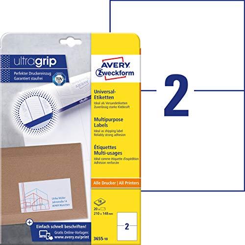 AVERY Zweckform 3655-10 Universal Etiketten (mit ultragrip, 210 x 148 mm auf DIN A4, Papier matt, bedruckbar, selbstklebend, 20 Klebeetiketten für DHL und Hermes auf 10 Blatt) weiß