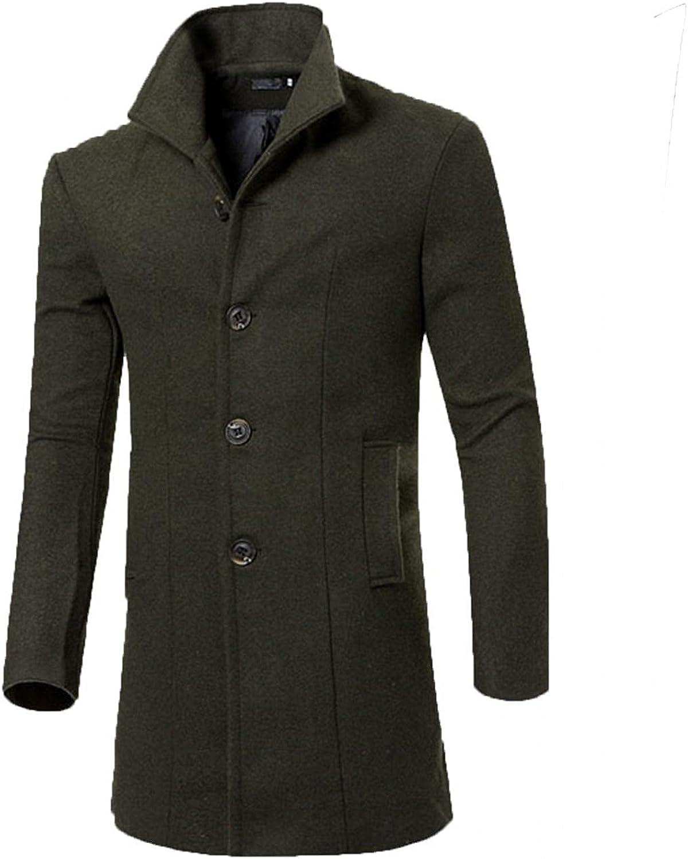 Huangse Men's Classic Stand Collar Business Top Coat Slim Fit Wool Mid-Length Trench Pea Coat Windbreaker Trenchcoat