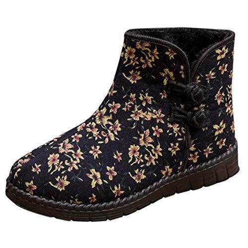 WUSIKY Stiefeletten Damen Bootsschuhe Boots Geschenk für Frauen Plus Samt warme Baumwollschuhe wasserdicht Nation Style Schneeschuhe