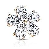 BYB Jewelry Pear CZ Gemmed Flower Surgical Steel Dermal Anchor Top (Rose Goldtone Steel)