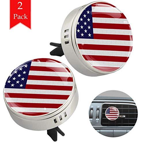 LORVIES Verenigde Staten Vlag Ontwerp Puzzels Print Auto Diffuser Aromatherapie Essentiële Olie Diffuser Vent Clip Luchtverfrisser, 2 STKS