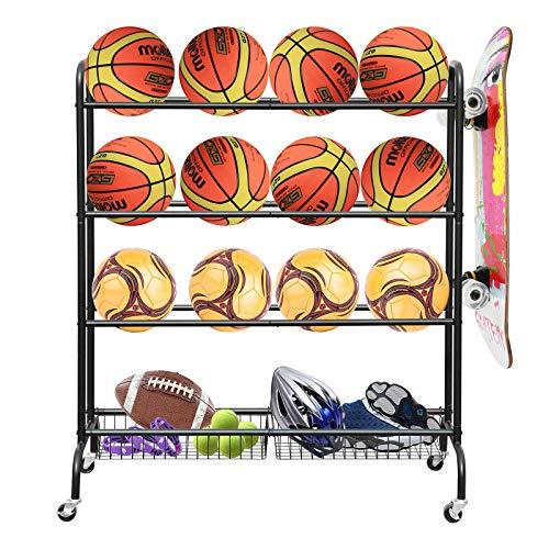 AHOWPD Rolling Sports Ball Storage Cart, Basketball Rack Three-Layer Ball Holder with Two Metal Baskets for Garage Storage Garage Organizer