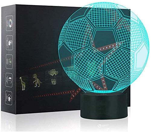 Lámpara LED de ilusión óptica 3D de fútbol con 16 colores que cambian de decoración – Regalo perfecto para niños y decoración de habitación