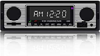 $27 » Vintage Classic Car Stereo with Bluetooth Single Din FM Car Radio, Dual Knob Car Audio Receiver with Remote Control, Buil...