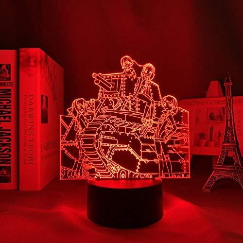ZMSY - Lámpara de noche 3D LED, diseño de chicas y tanques de anime para dormitorio