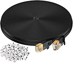 Cat 7 Ethernet Cable,100 Ft Network Cable for Modem Router, High Speed Flat Internet Cord with Clips Rj45 Snagless Connector Fast Computer LAN Wire for Gaming,Switch,Xbox, PS4,Coupler,Black