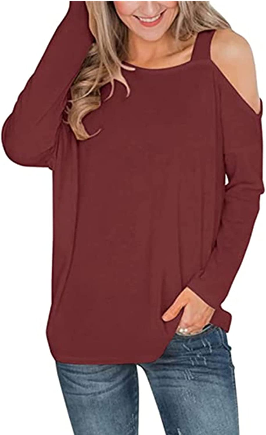 TIMIFIS Off The Shoulder Tops for Women Long Sleeve Tunic Tops Casual Pullover Loose Fit Shirts Solid Color Blouse