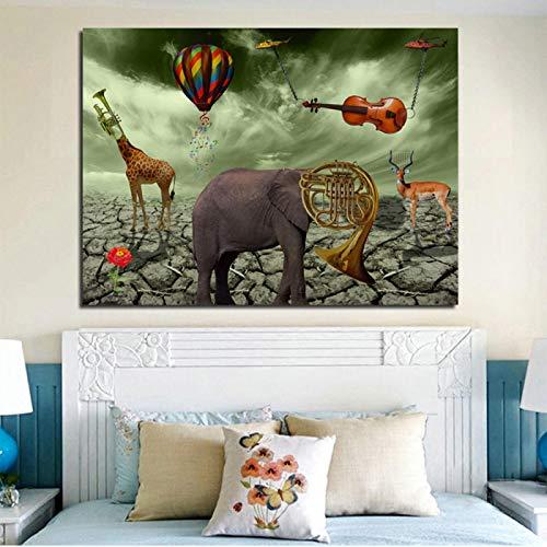 1 Stück Elephant Deer Trompete Gemälde Leinwand gedruckt Wandkunst druckt Poster für Wohnzimmer Tier moderne Wohnkultur (70x90cm) Kein Rahmen