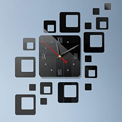 TOPmountain 3D Self-Adhesive Mirror Wall Clock Sticker Decorative Clock Acrylic Mirror Clock Geometric Square