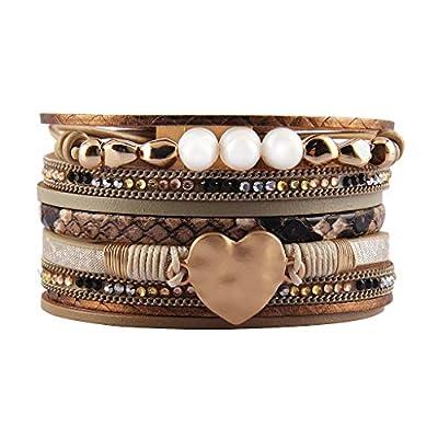 Jenia Women Leather Wrap Bracelet Rope Cuff Bracelets Charm Heart Bangle Wedding Bohemian Gift for Girls, Mother, Wife, Ladies, Lover