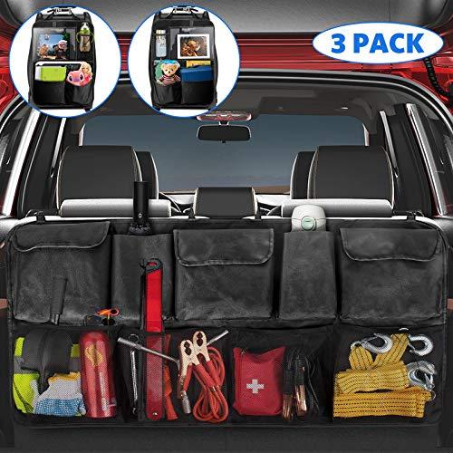 TECBOSS Auto Rückenlehnenschutz, 2 Stück Autositz Organizer und 1 Kofferraumtasche Auto, Multifunktionstaschen und 12.9 Zoll iPad Fach, Passend für SUV, Schwarz