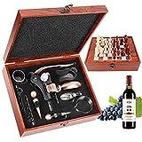 RERXN Caja de madera Accesorios de vino Juegos de regalo - Conejo abridor de vino Set de vino Sacacorchos tapón vino Vertedor vino madera ajedrez Set (marrón 0B)