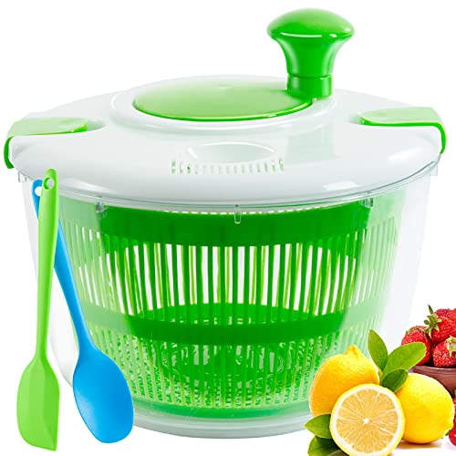 Large Salad Spinner 5L Capacity,with Free Silicone Spatula,Lettuce Spinner Dishwasher Safe with Convenient Lock Lid &Rotary Handle,BPA Free Lettuce Washer and Dryer for Faster Crispy Salads Prep.