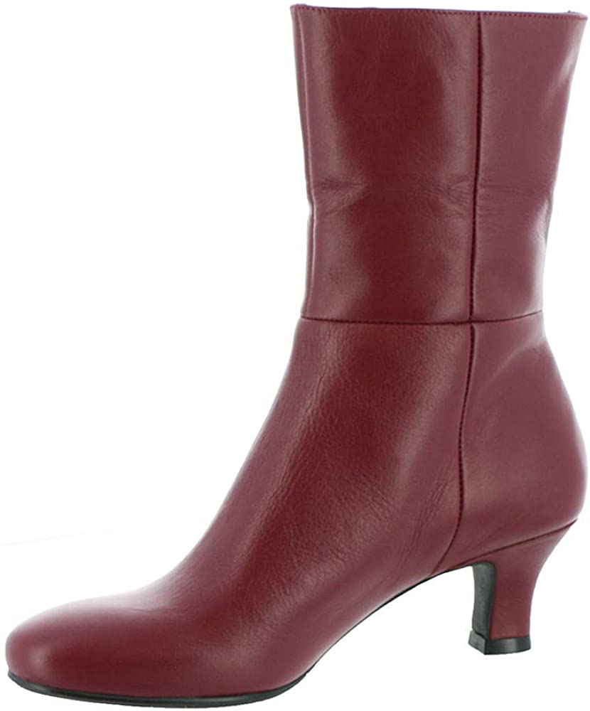 Array Womens Carley Leather Almond Toe Mid-Calf Boots Red 7.5 Medium (B,M)